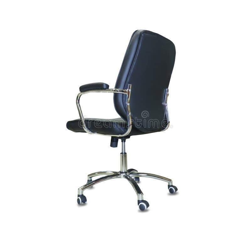 Современный стул офиса от черной кожи изолировано стоковое изображение