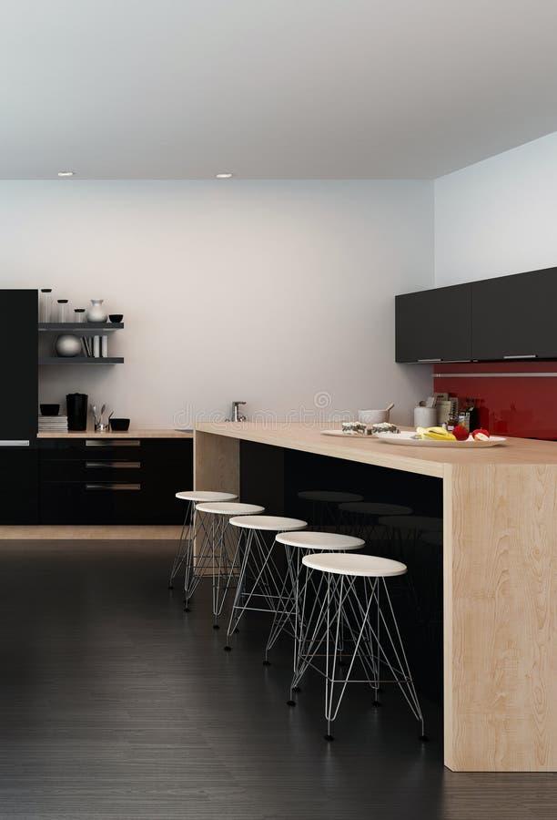 Современный счетчик бара в кухне открыт-плана иллюстрация вектора