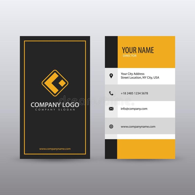 Современный творческий вертикальный чистый шаблон визитной карточки с желтым черным цветом Полно editable бесплатная иллюстрация