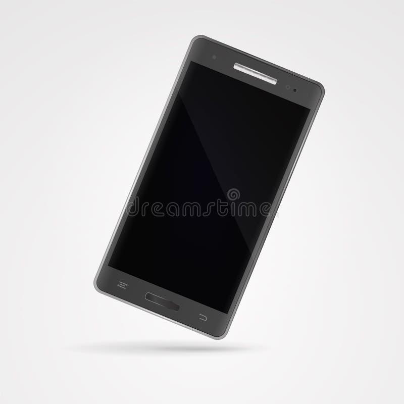 Современный темный серый smartphone с экраном касания на белом backgroun бесплатная иллюстрация