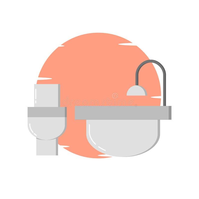 Современный туалет, иллюстрация bathup - вектор иллюстрация штока