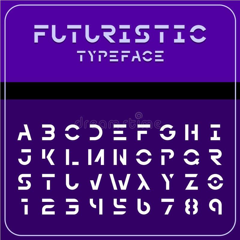 Современный футуристический шрифт научной фантастики Будущий текст космоса иллюстрация вектора