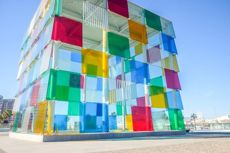 Современный центр Pompidou музея в Малаге, Андалусии, Испании стоковое изображение rf