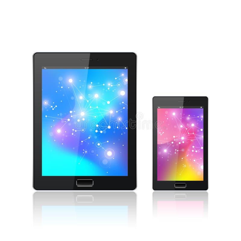 Современный цифровой ПК таблетки при передвижной smartphone изолированный на белизне Абстрактная жидкость 3d формирует жидкость в иллюстрация штока