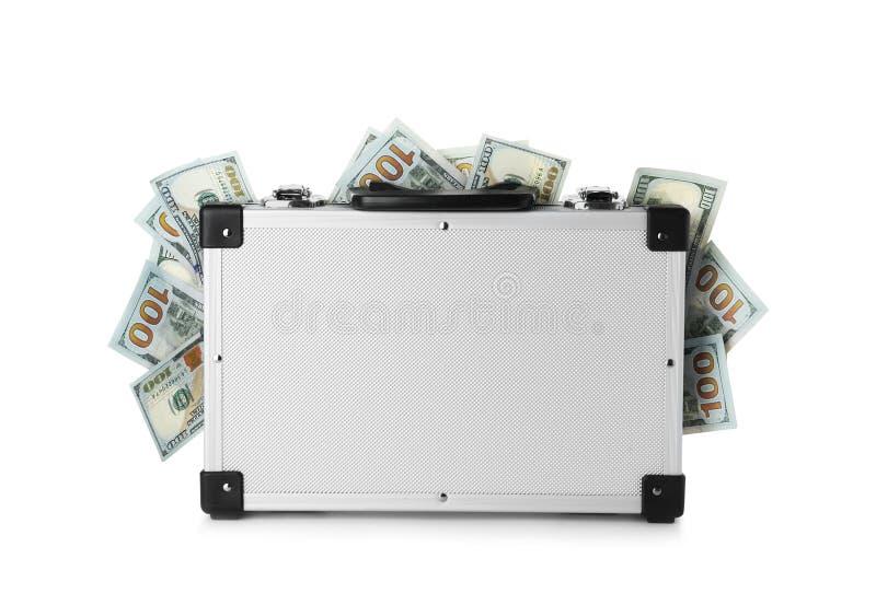 Современный чемодан вполне денег стоковые изображения