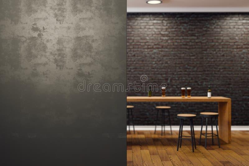 Современный черный интерьер бара стоковое изображение rf