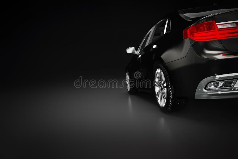 Современный черный металлический автомобиль седана в фаре Родовой desing, brandless стоковое фото