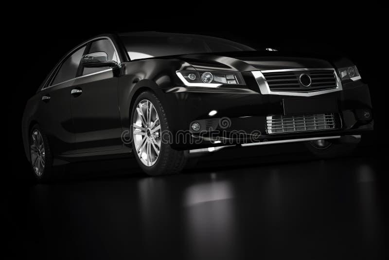 Современный черный металлический автомобиль седана в фаре Родовой desing, brandless стоковые изображения rf