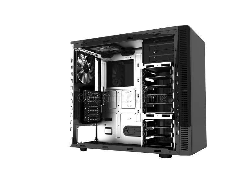 Современный черный системный блок открытое 3d не представляет на белой предпосылке никакой s бесплатная иллюстрация