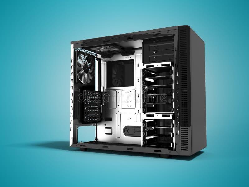 Современный черный системный блок открытое 3d представляет на голубой предпосылке с бесплатная иллюстрация