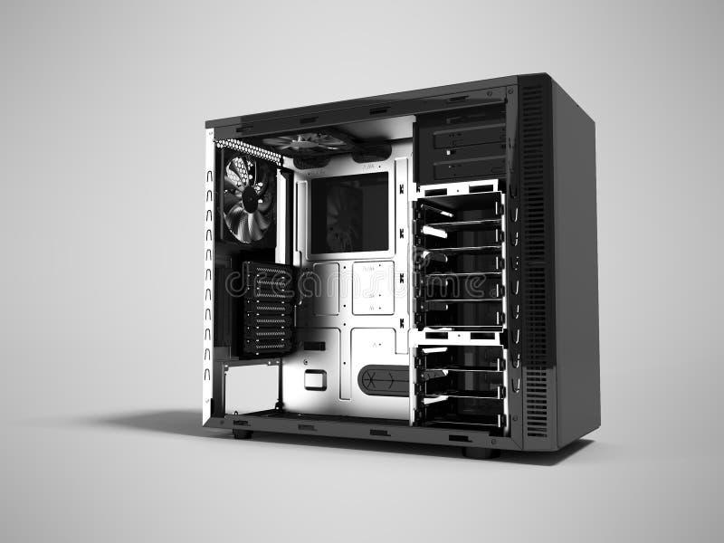 Современный черный системный блок открытое 3d представляет на серой предпосылке с иллюстрация вектора
