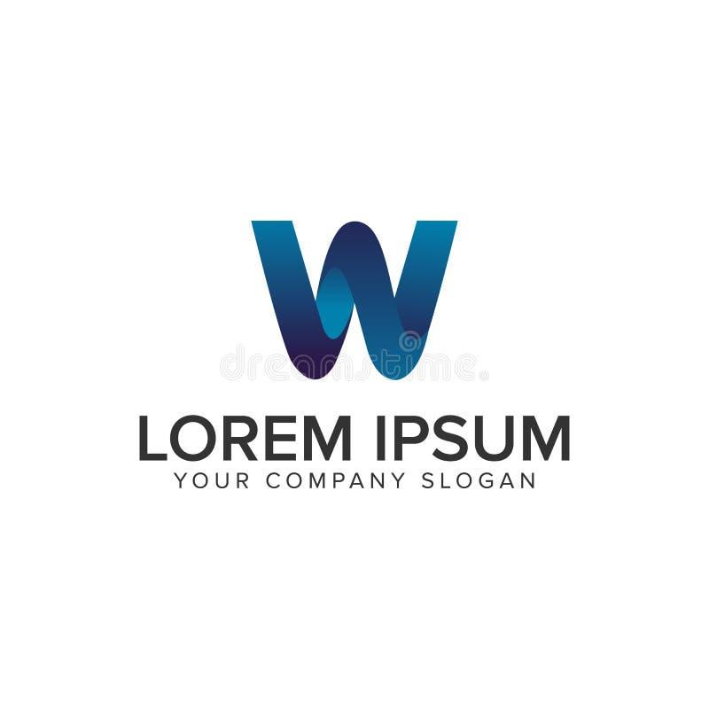 Современный шаблон идеи проекта логотипа w 3D письма полно editable иллюстрация штока