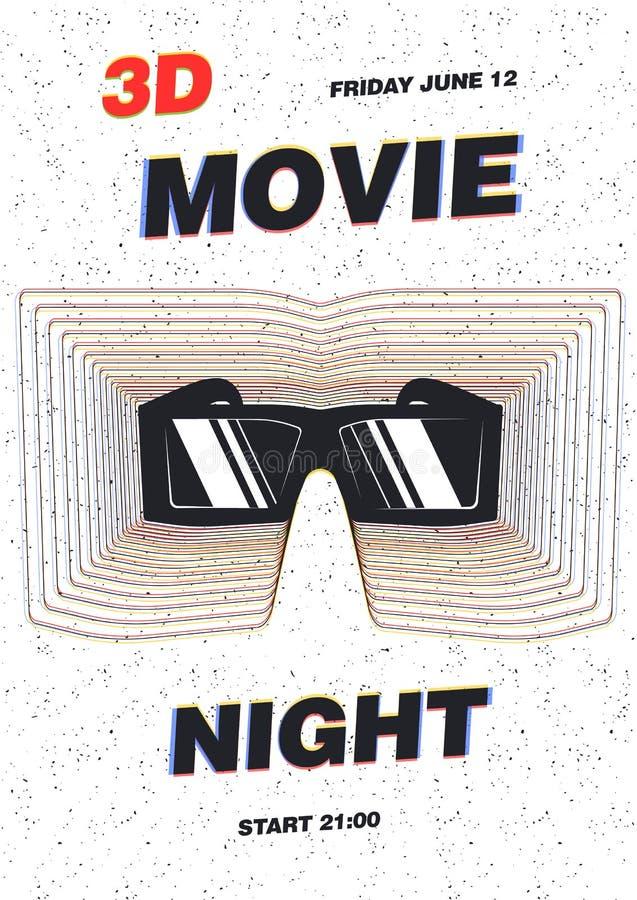 Современный шаблон плаката для ночи премьеры кино, фестиваля фильмов или выставки кино с стеклами 3d против белой предпосылки иллюстрация штока