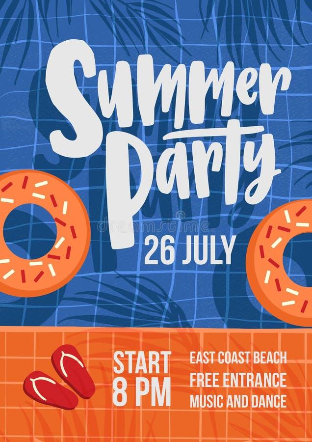 Современный шаблон рогульки или плаката для партии лета под открытым небом с бассейном, кольцами заплыва, тенями пальм и сальто иллюстрация штока
