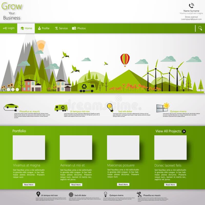 Современный шаблон вебсайта Eco с плоской иллюстрацией ландшафта eco бесплатная иллюстрация