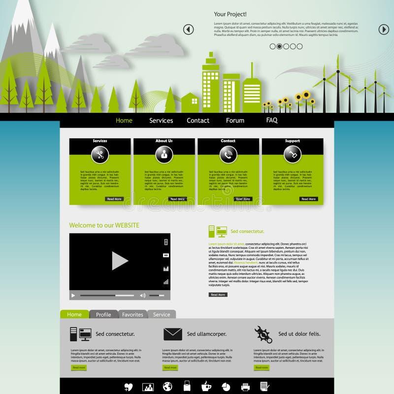 Современный шаблон вебсайта Eco с плоской иллюстрацией города eco бесплатная иллюстрация