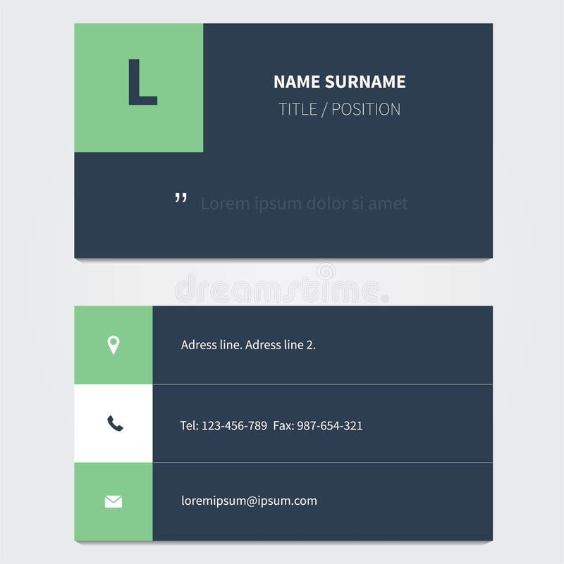 Современный шаблон визитной карточки в сини иллюстрация штока