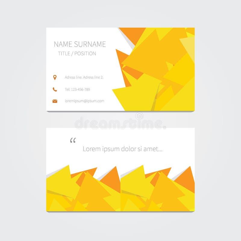 Современный шаблон визитной карточки с желтыми элементами бесплатная иллюстрация