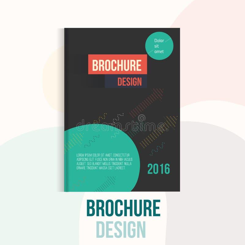 Современный шаблон дизайна крышки брошюры с абстрактными геометрическими линейными формами и стрелки на темной предпосылке для ва бесплатная иллюстрация