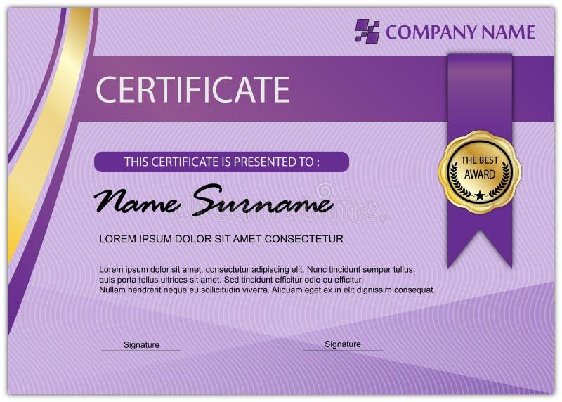 Современный шаблон сертификата, фиолетовый цвет иллюстрация штока