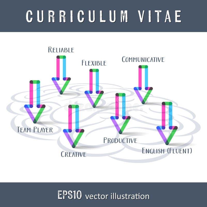Современный шаблон cv оригинала с мозгом бесплатная иллюстрация