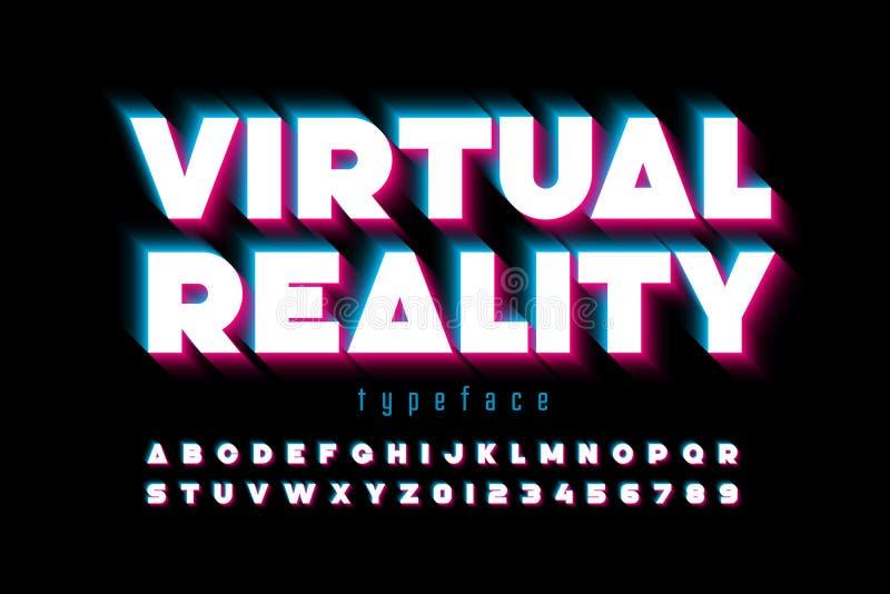 Современный шрифт, виртуальная реальность иллюстрация вектора