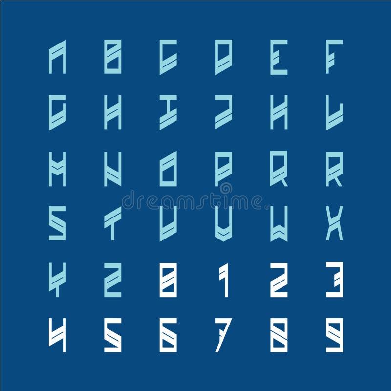 Современный шрифт украшения Узкие геометрические письма алфавита стиля иллюстрация вектора