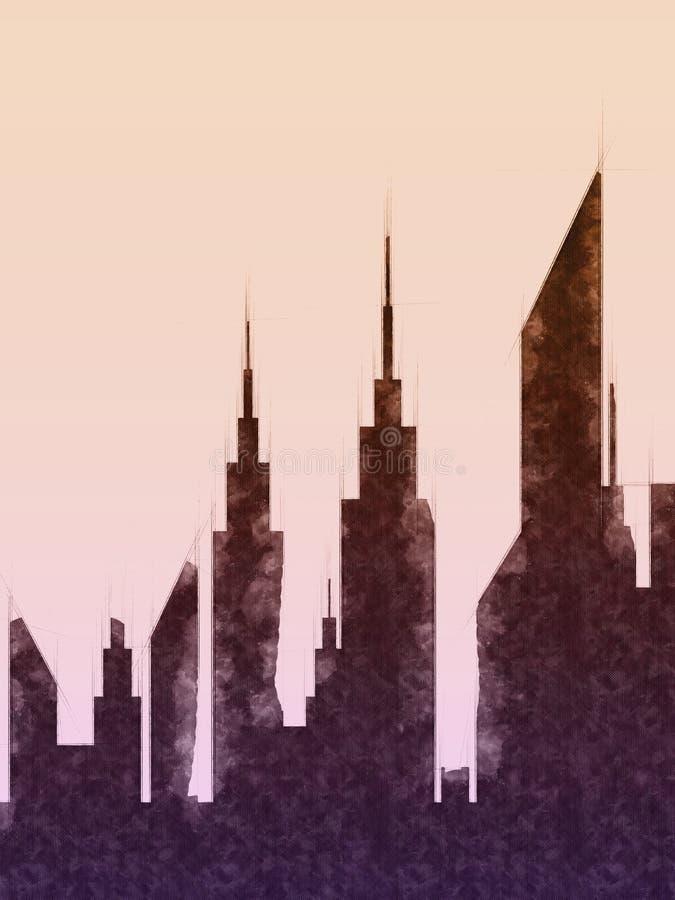 Современный эскиз зданий и небоскреба города бесплатная иллюстрация