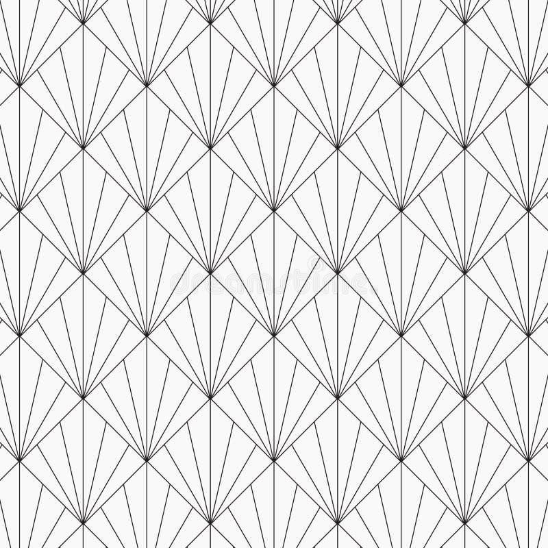 Современный японский мотив Блокируя предпосылка тесселяции треугольников Изображение с повторенными scallops Масштаб рыб иллюстрация штока