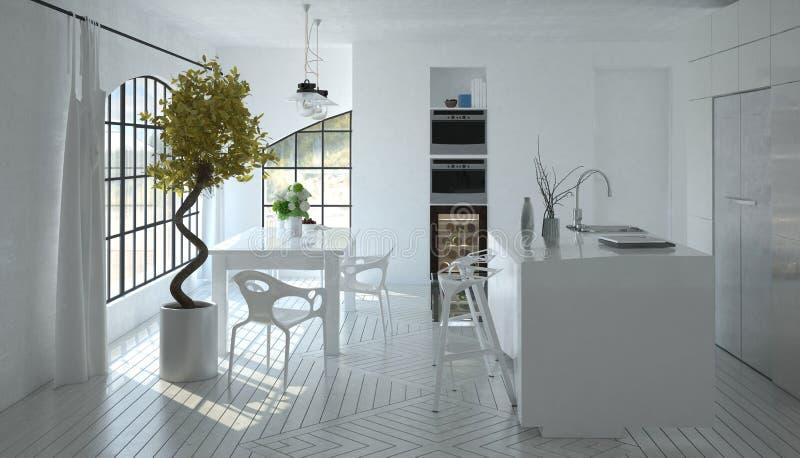 Современный яркий белый воздушный приспособленный интерьер кухни стоковое изображение rf