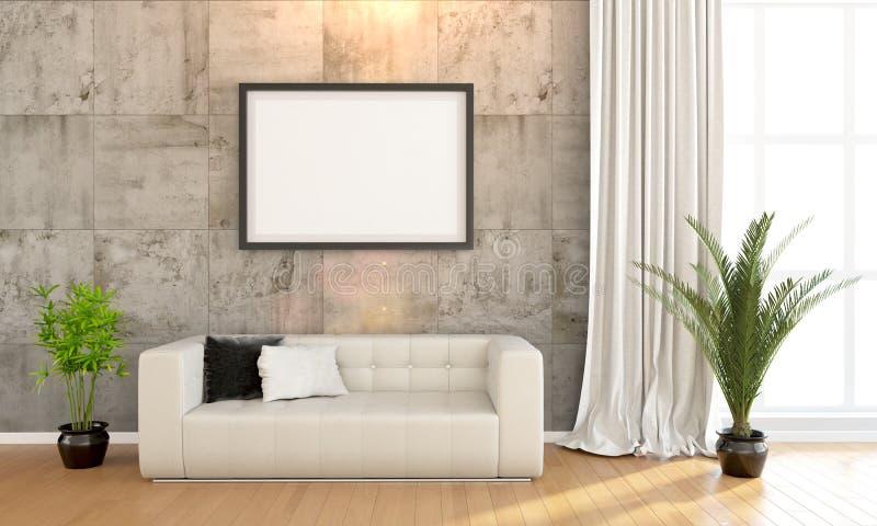 Современный яркий интерьер 3d представляют иллюстрация вектора