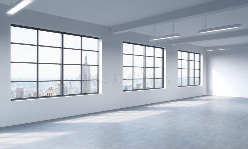 Современный яркий чистый интерьер открытого пространства стиля просторной квартиры Огромные окна и белые стены Вид на город Нью-Й бесплатная иллюстрация