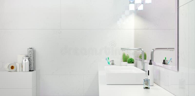 Современный Bathroom внутреннее 3d представляя minimalistic, яркий стоковое фото rf