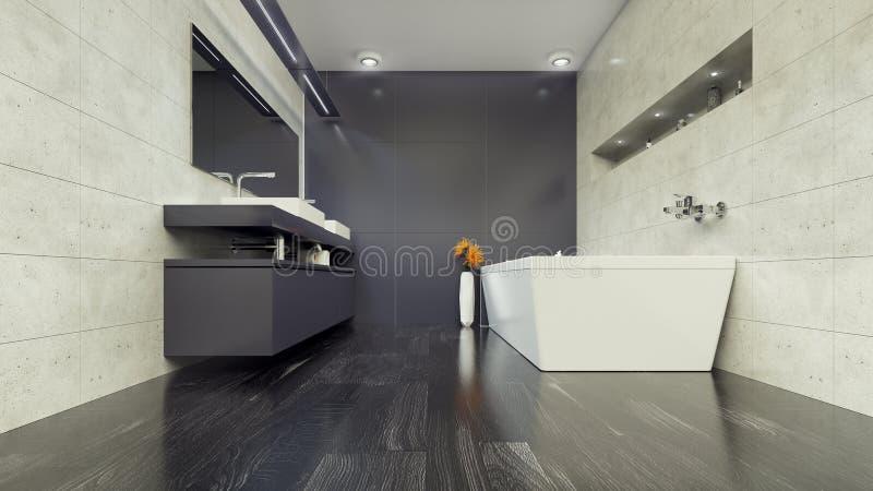 Современный Bathroom внутреннее 3d представляя minimalistic, яркий стоковое изображение rf