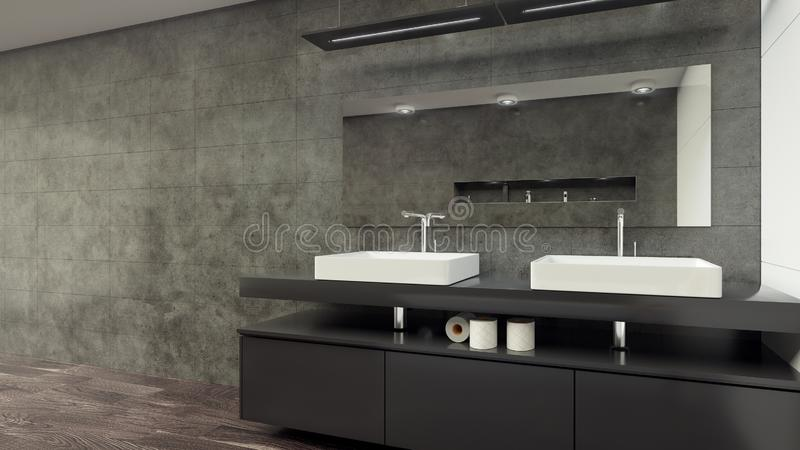 Современный Bathroom внутреннее 3d представляя minimalistic, яркий стоковые фото