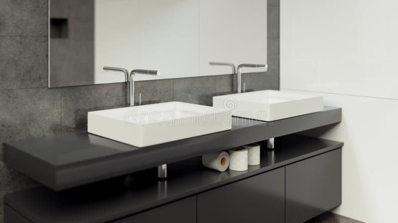 Современный Bathroom внутреннее 3d представляя minimalistic, яркий стоковая фотография