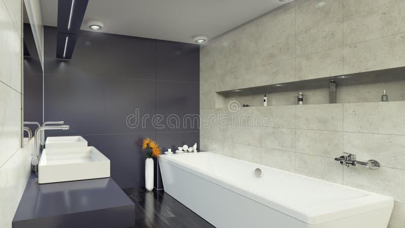 Современный Bathroom внутреннее 3d представляя minimalistic, яркий стоковые изображения