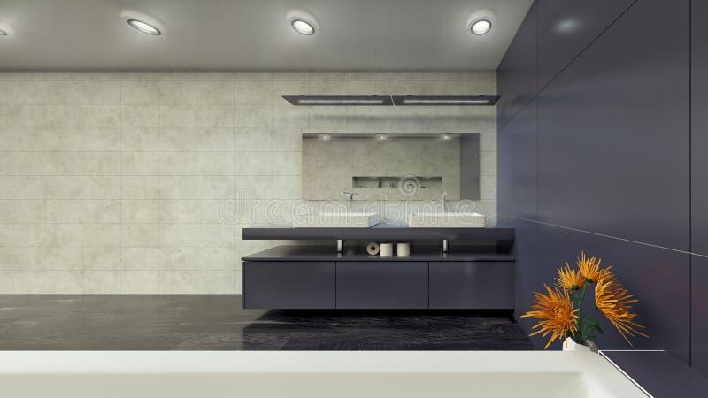 Современный Bathroom внутреннее 3d представляя minimalistic, яркий стоковые фотографии rf