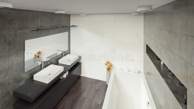 Современный Bathroom внутреннее 3d представляя minimalistic, яркий стоковое изображение