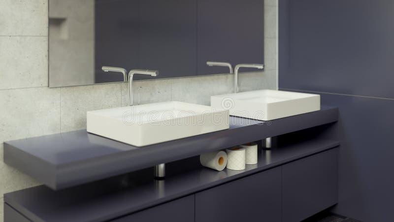Современный Bathroom внутреннее 3d представляя minimalistic, яркий стоковые изображения rf