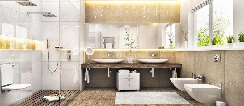 Современный bathroom с большими ливнем и окном стоковые изображения rf