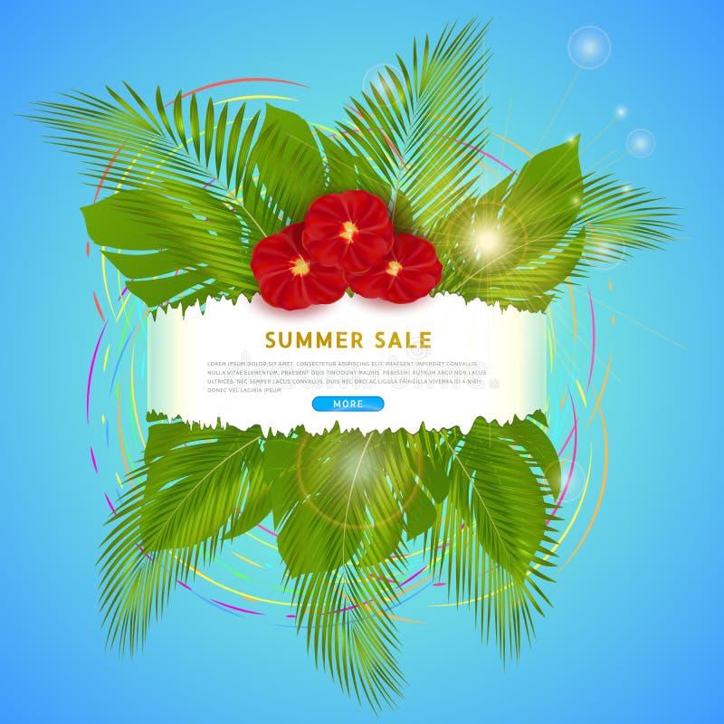 Современный clickable дизайн знамени сети для продажи лета, экзотических красных цветков, красочных кругов и солнца E иллюстрация штока