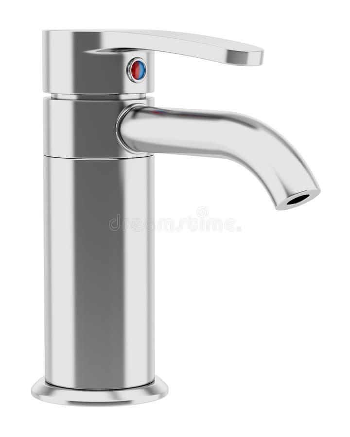 Современный faucet хрома изолированный на белизне иллюстрация вектора