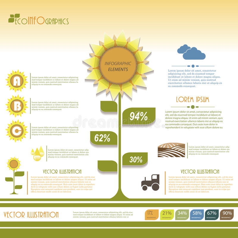 Современный infographic зеленый дизайн шаблона. иллюстрация штока