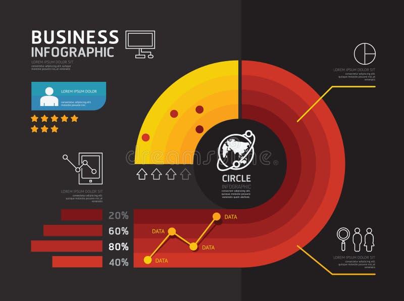 Современный infographic круг знамени геометрический с линией значки, иллюстрация вектора
