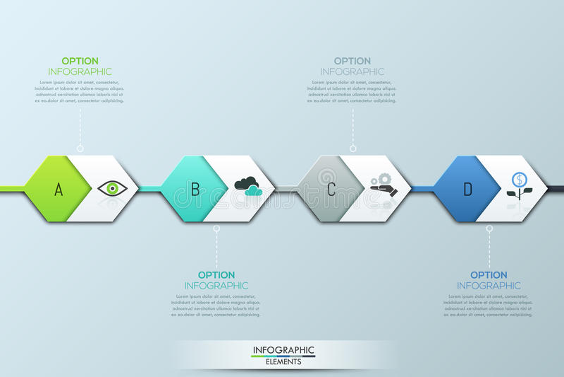 Современный infographic шаблон дизайна 4 подряд соединенных шестиугольных элементы и текстового поля иллюстрация вектора