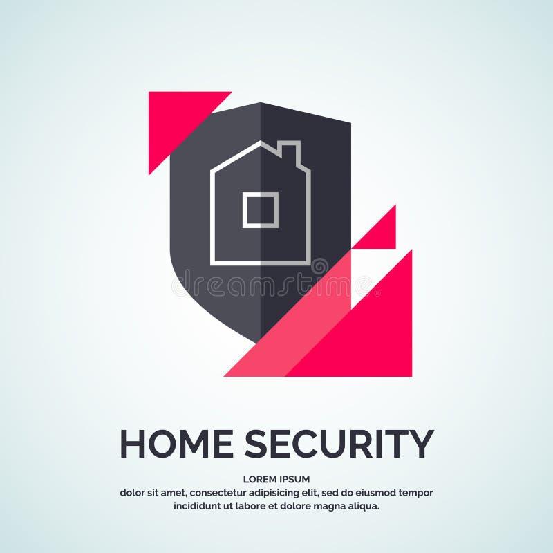 Современный minimalistic дизайн логотипа вектора для домашней безопасности иллюстрация штока