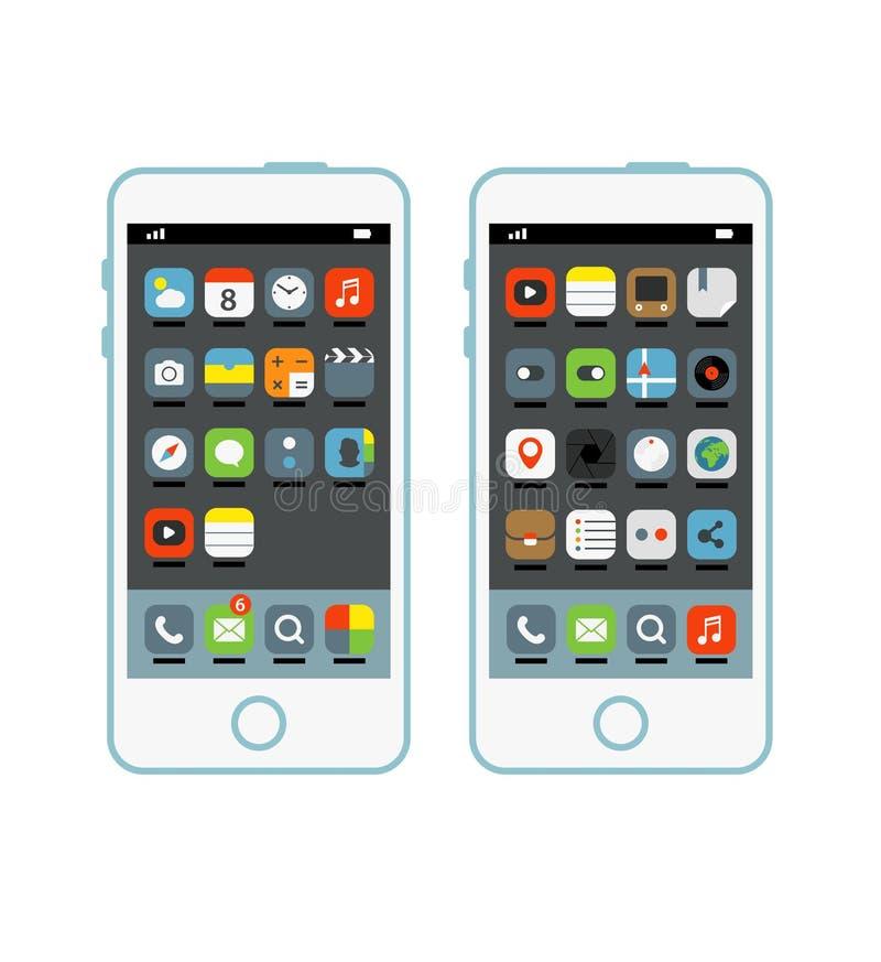 Современный smartphone с различными элементами интерфейса бесплатная иллюстрация