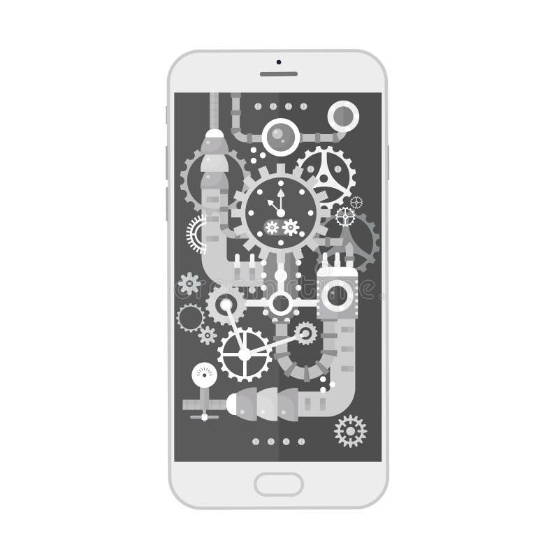 Современный smartphone с cogs, шестернями и масштабами различного steampunk винтажными внутрь также вектор иллюстрации притяжки c иллюстрация штока