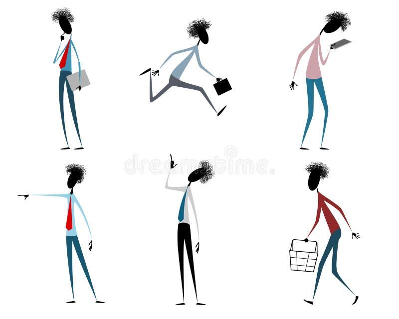 6 современных парней иллюстрация вектора